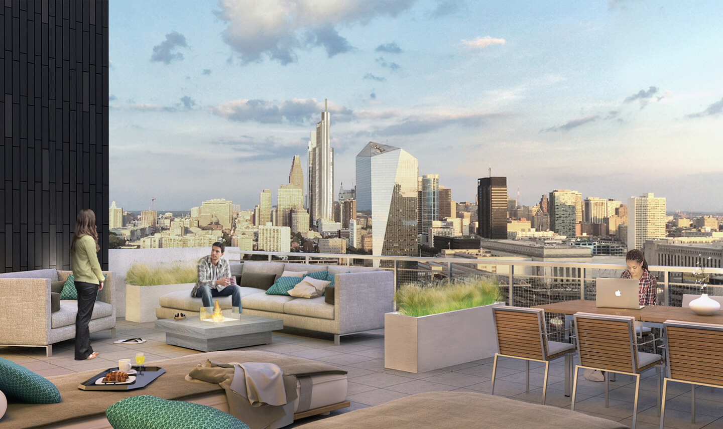 Vue32 features a rooftop terrace where you can enjoy unobstructed skyline views of Philadelphia