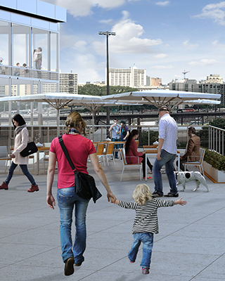 Enjoy an urban retreat on the plaza where residents can connect with neighbors and friends.