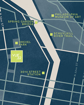 Located in University City, Vue32 apartment residents have easy access to the best of Philadelphia.